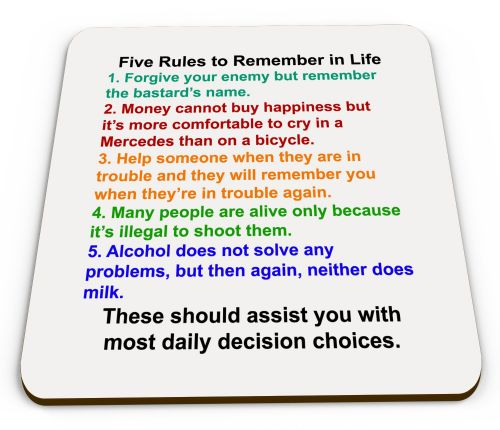 Five Rules to Remember in Life Glossy Mug Coaster